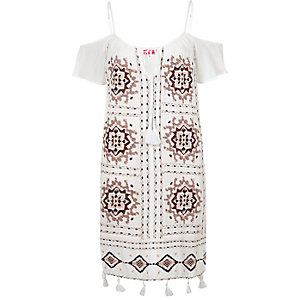 White embroidered tassel beach dress