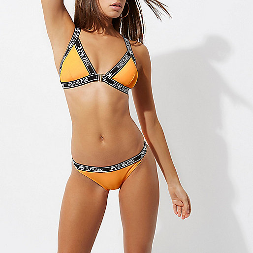 Orange branded bikini bottoms