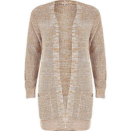 Beige longline oversized knit cardigan