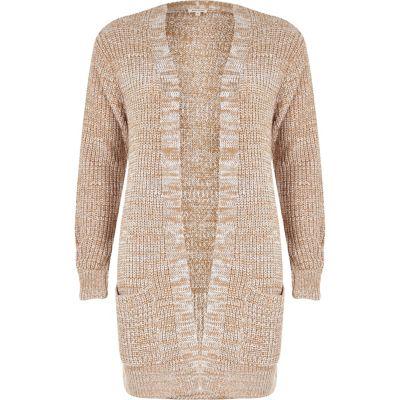 Beige longline oversized knit cardigan - Knitwear - Sale - women