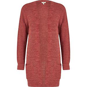 Pink longline oversized knit cardigan