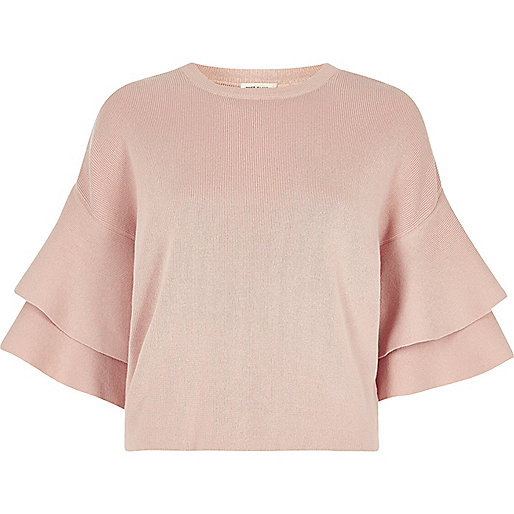 Light pink knit double frill sleeve top