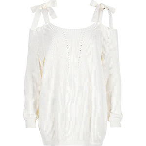 White tie shoulder knit sweater