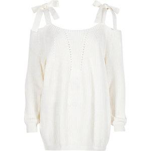 Pull en maille blanc avec noeuds aux épaules