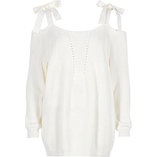 White tie shoulder knit jumper