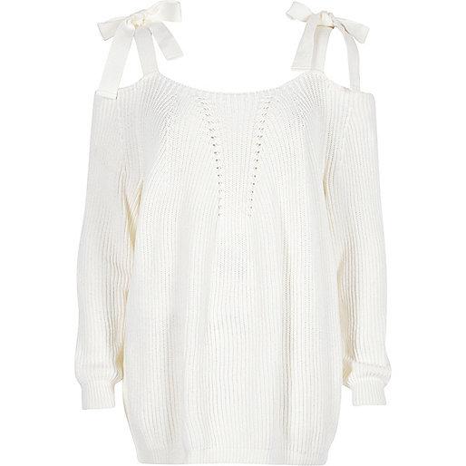 White tie shoulder knit sweater