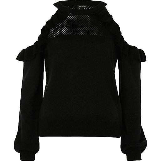 Black cold shoulder frill knit sweater