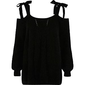 Pull en maille noir avec noeuds aux épaules
