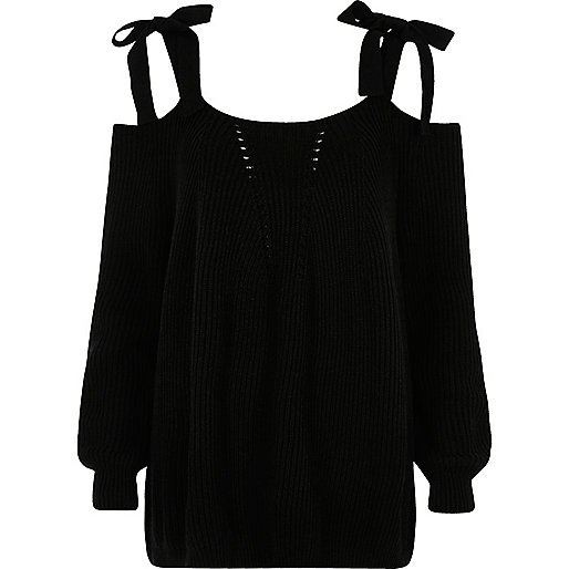 Black tie shoulder knit jumper