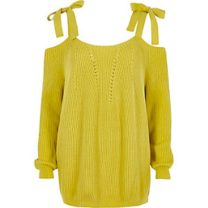 Yellow tie shoulder knit sweater