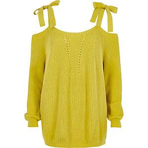 Pull en maille jaune avec noeuds aux épaules