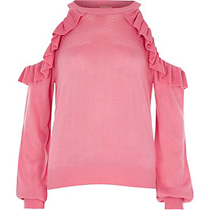 Pink cold shoulder frill knit jumper