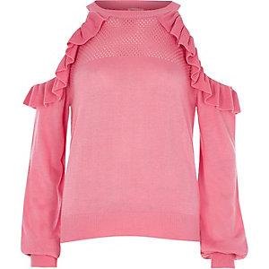 Pull en maille rose à épaules dénudées avec volant