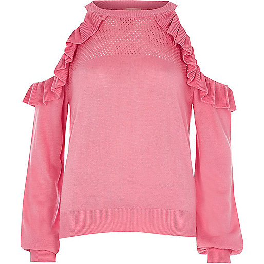 Pink cold shoulder frill knit sweater