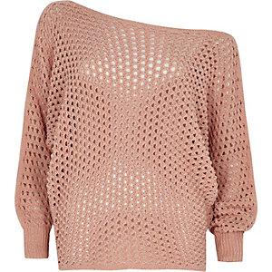 Roze mesh schouderloze pullover met vleermuismouwen