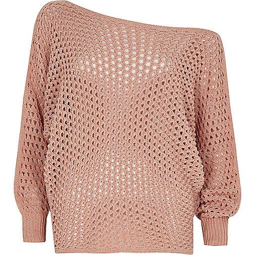 Pink mesh knit off shoulder batwing jumper