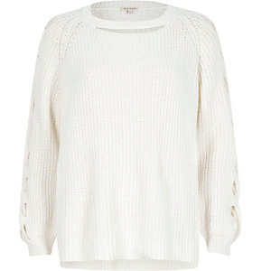 White ribbed knit cut out jumper