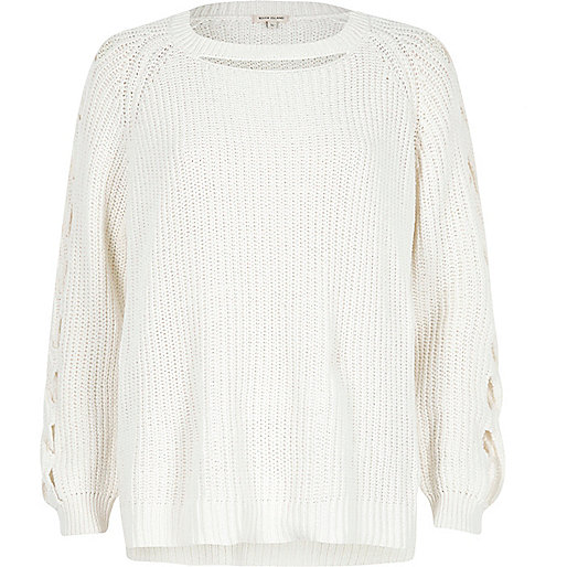 White ribbed knit cut out sweater