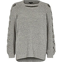 Grey ribbed knit cut out sweater