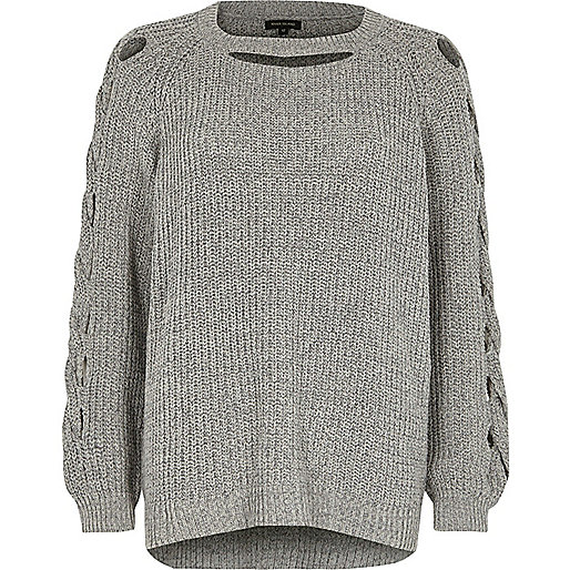 Grey ribbed knit cut out jumper
