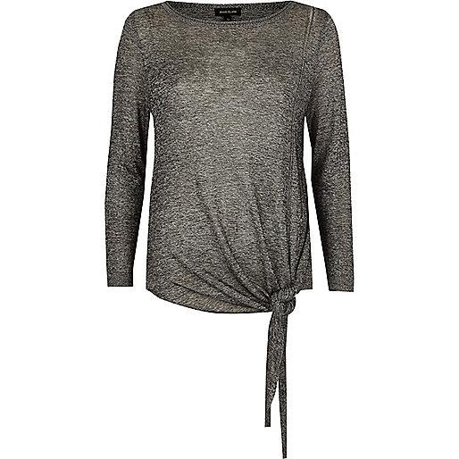 Grey knit tie side jumper