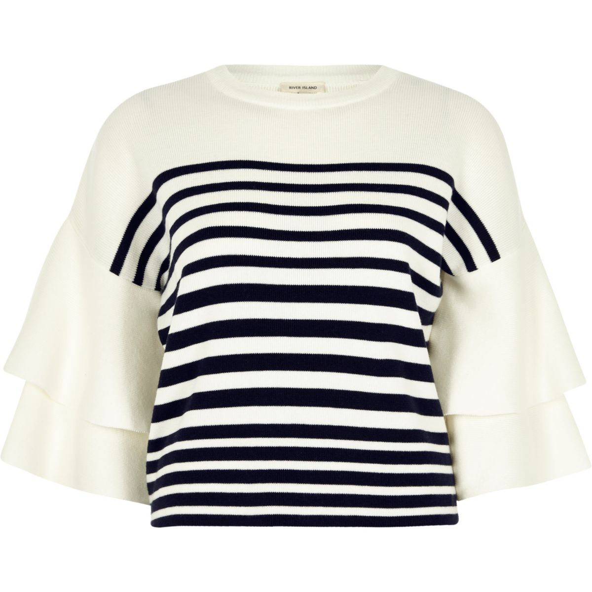 White knit stripe double frill sleeve top