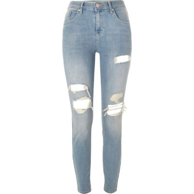 Amelie Middenblauwe ripped superskinny jeans