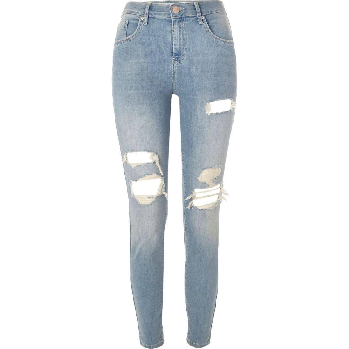 Mid blue Amelie ripped super skinny jeans