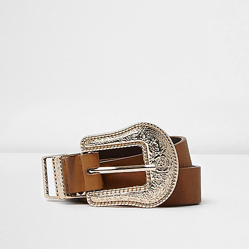 Brown and gold western belt
