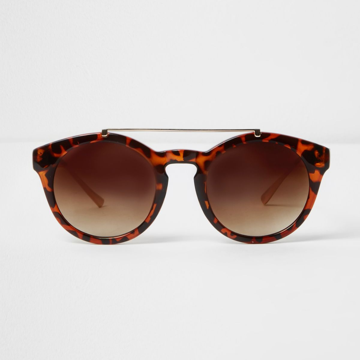 Brown tortoiseshell brow bar round sunglasses