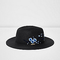 Black floral embroidered straw hat