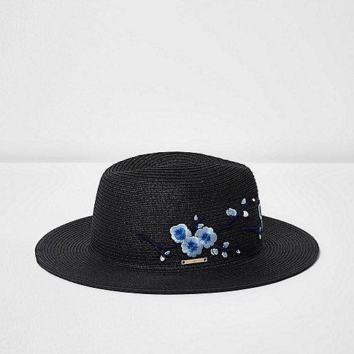 Chapeau de paille noir à fleurs brodées