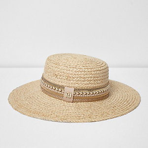 Light beige embroidered straw hat