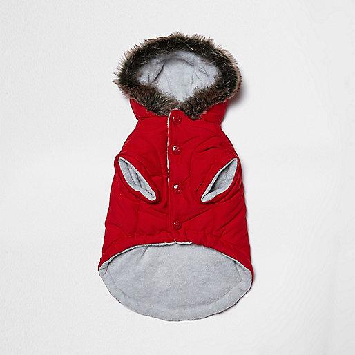 Veste de ski RI Dog rouge avec capuche bordée de fausse fourrure