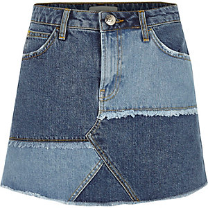 Blue denim patchwork mini skirt