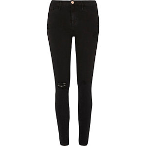 Black distressed skinny fit Molly jeggings