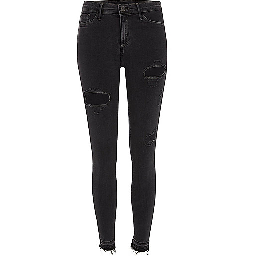 Dark grey Molly ripped skinny jeggings