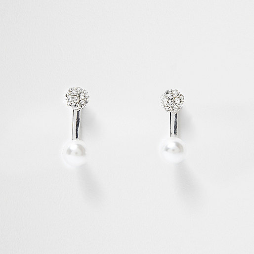 Silver tone rhinestone front and back earrings