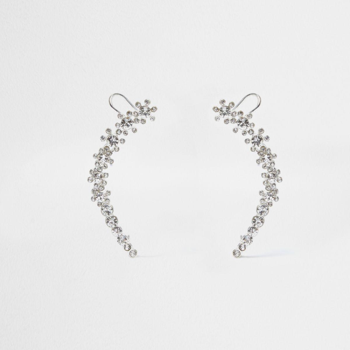 Silver tone flower embellished ear cuffs