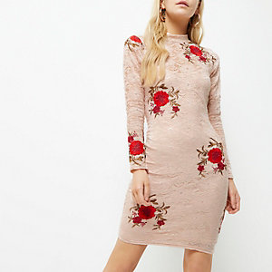 Petite pink floral embroidered bodycon dress