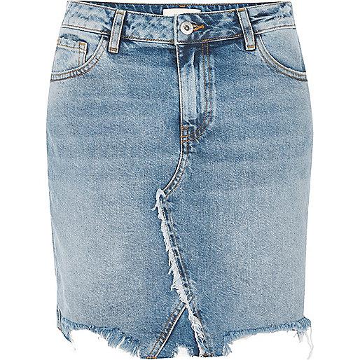 Jupe en jean bleu moyen délavé à l'acide à ourlet brut