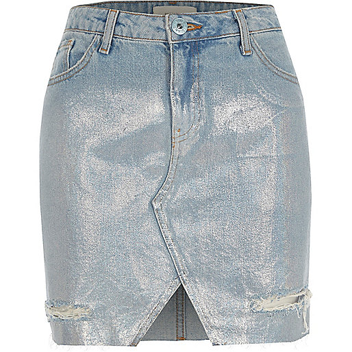 Light blue silver coated denim skirt