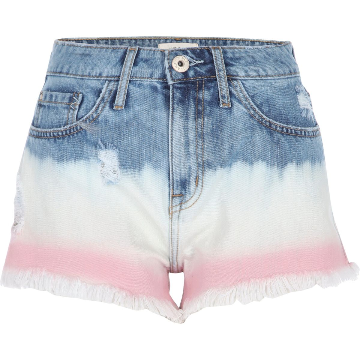 Mid blue distressed ombre dye denim shorts