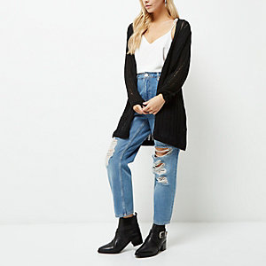 Petite black ladder longline cardigan