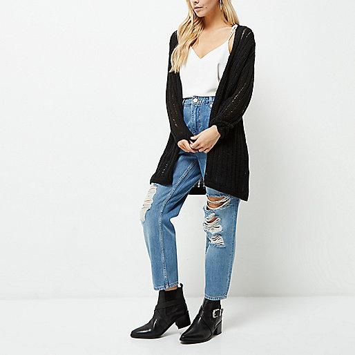 Petite black ladder longline cardigan