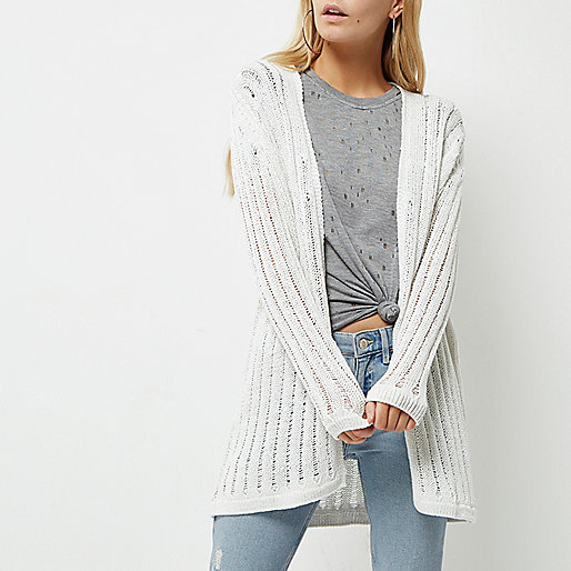 Petite cream ladder longline cardigan