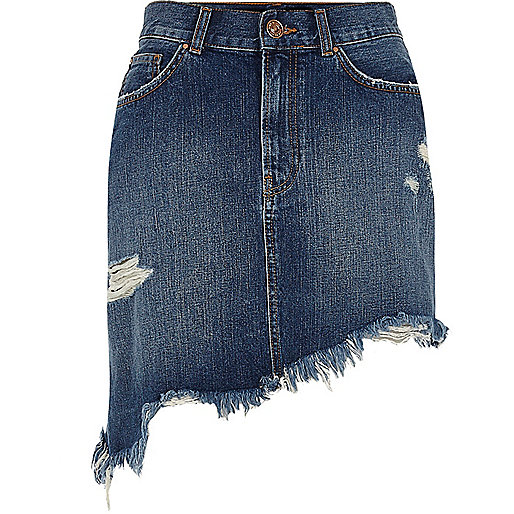Blue distressed asymmetric hem denim skirt