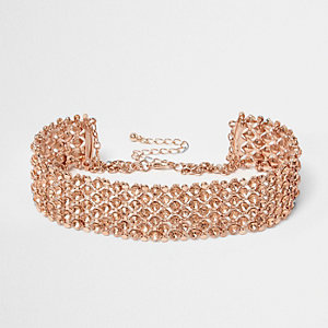 Plus rose gold rhinestone choker