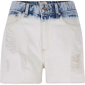 Light blue bleached high waisted denim shorts