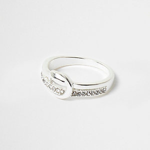 Silver tone diamante knot ring
